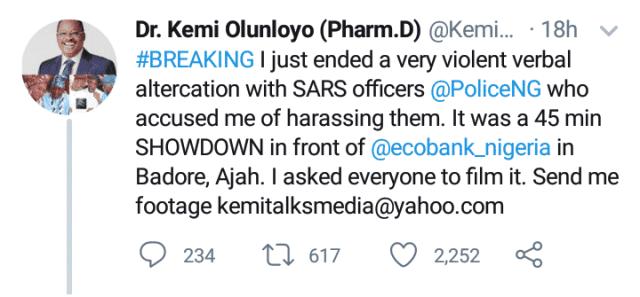 Kemi Olunloyo Clashes With SARS