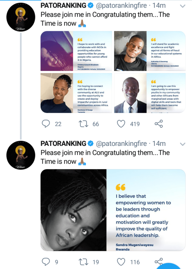 screenshot 20200716 1722111952935979144989210 - Patoranking awards absolutely paid college scholarship to 10 individuals throughout Africa