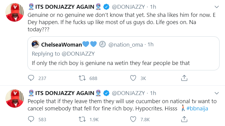 You are all hypocrites, Donjazzy hails Erica, slams people shaming her for going intimate with Kiddwaya