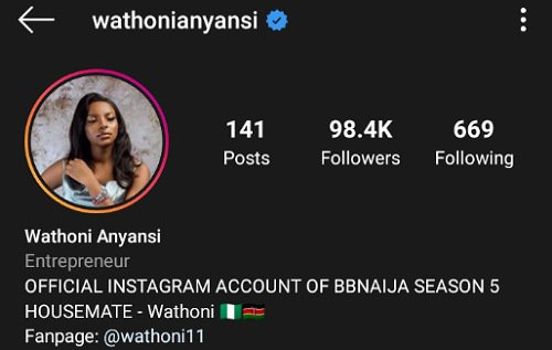Wathoni becomes verified on Instagram