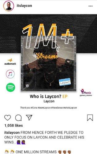 Laycon's EP Hits 1 Million Streams