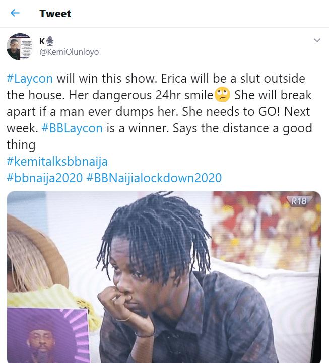 Kemi Olunloyo Reveals winner of BBNaija 2020 'Lockdown' edition