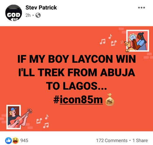 Trek from Abuja to Lagos if Laycon wins