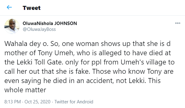 Nigerians counter lady's claim that her son died at the Lekki toll gate shooting
