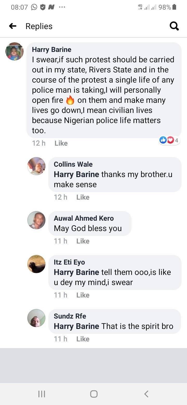 Man leaks Facebook comments of alleged policemen threatening to shoot #EndSARS protesters in Port Harcourt