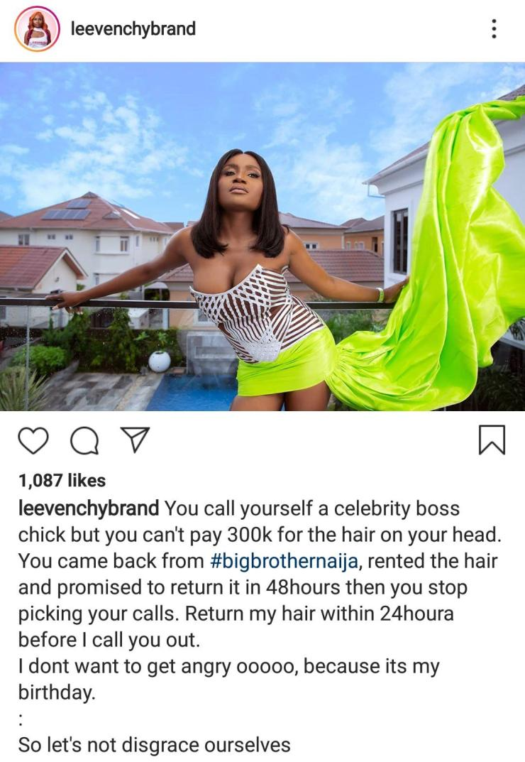 Hair vendor calls out boss lady, Ka3na for renting N300,000 hair and refusing to pay - IMG 20201004 080534 328 - Hair vendor calls out boss lady, Ka3na for renting N300,000 hair and refusing to pay