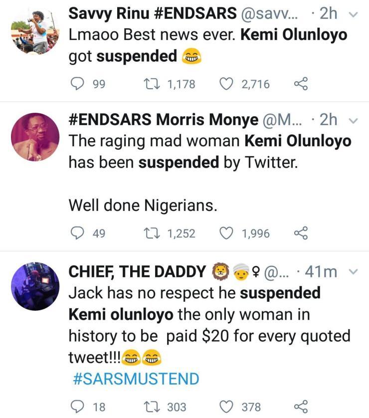 Nigerians Jubilate As Kemi Olunloyo Loses Twitter Account
