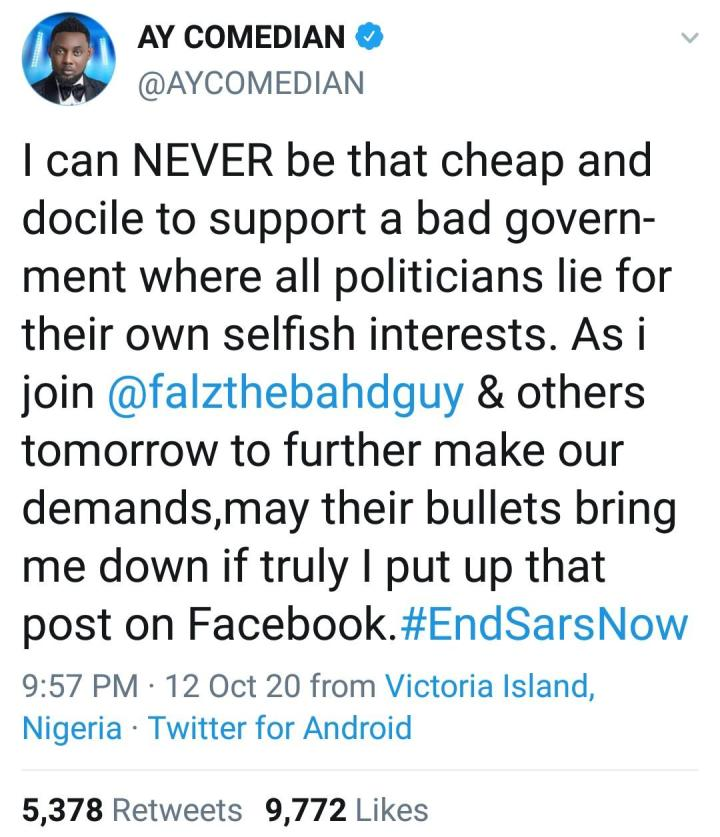 """#EndSars: """"May death take me before my time and claim all my blessings, if I truly put that up"""" - Comedian AY reacts after he was dragged over post on Facebook"""