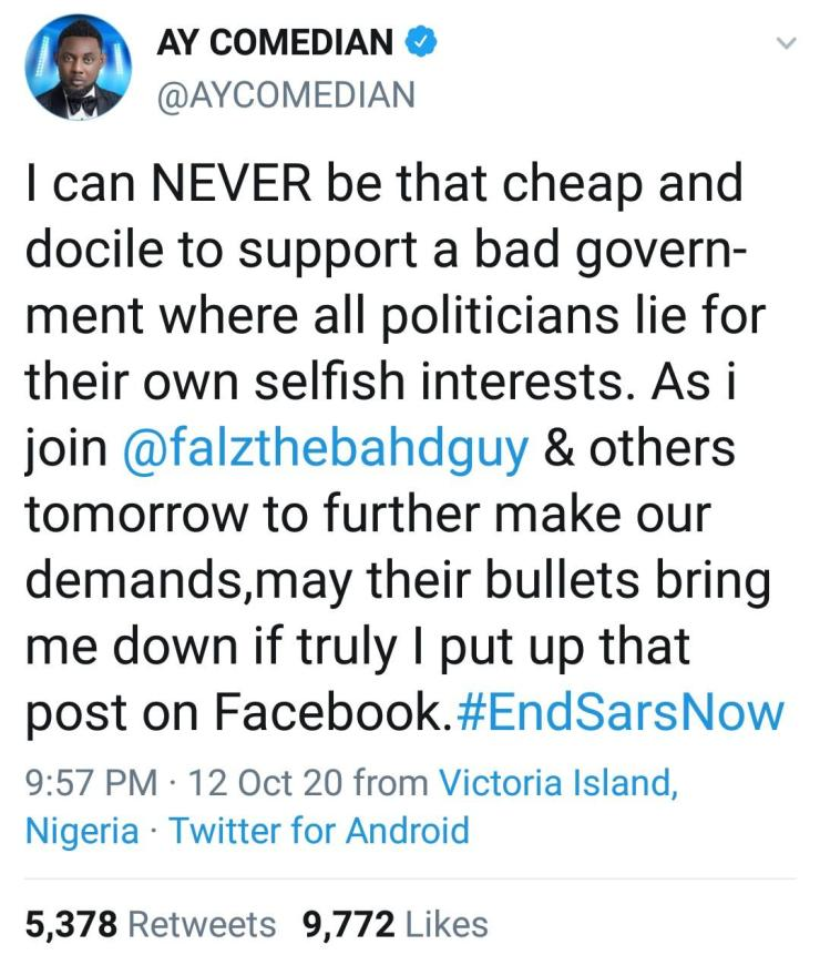 """#EndSars: """"May death take me before my time and claim all my blessings, if I truly put that up"""" – Comedian AY reacts after he was dragged over post on Facebook"""