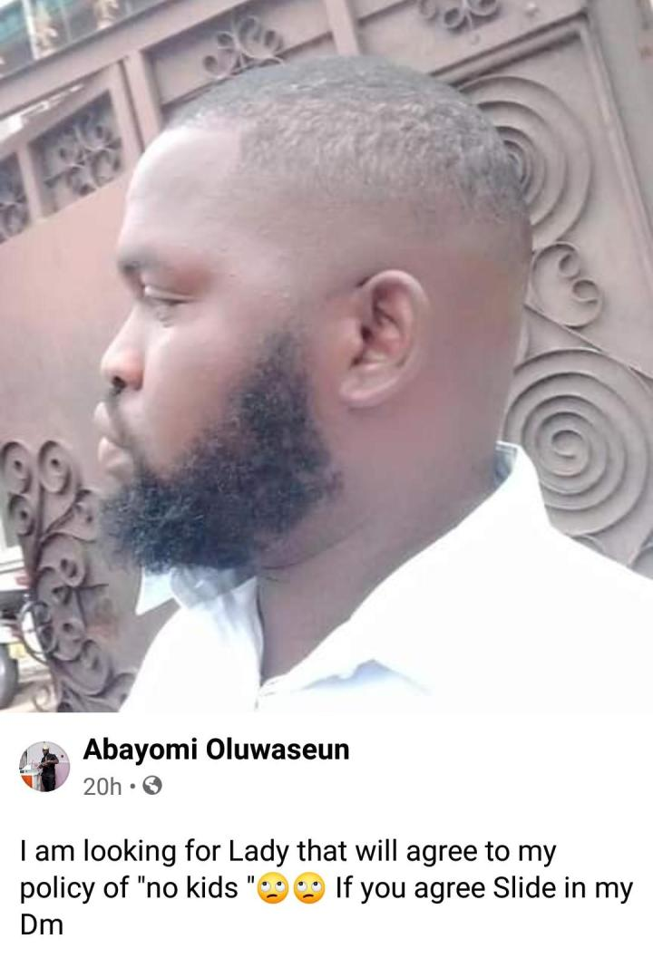 Nigerian man in search of lady who will marry him without giving birth to kids (Photos)