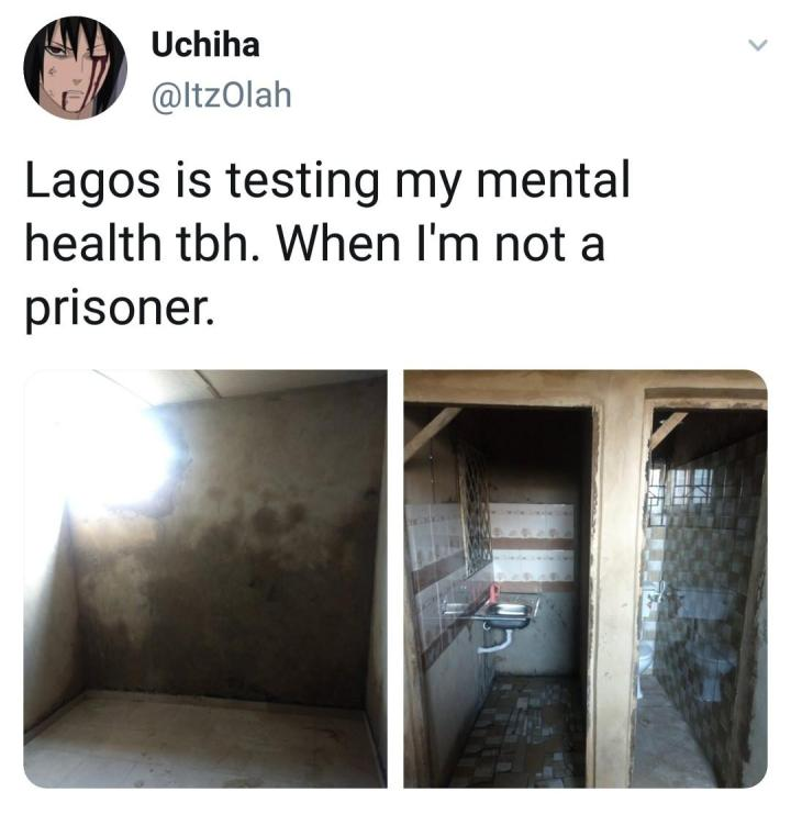 """""""When I'm not a prisoner"""" - Man shares photos of the N250,000 apartment he found while house-hunting in Lagos"""