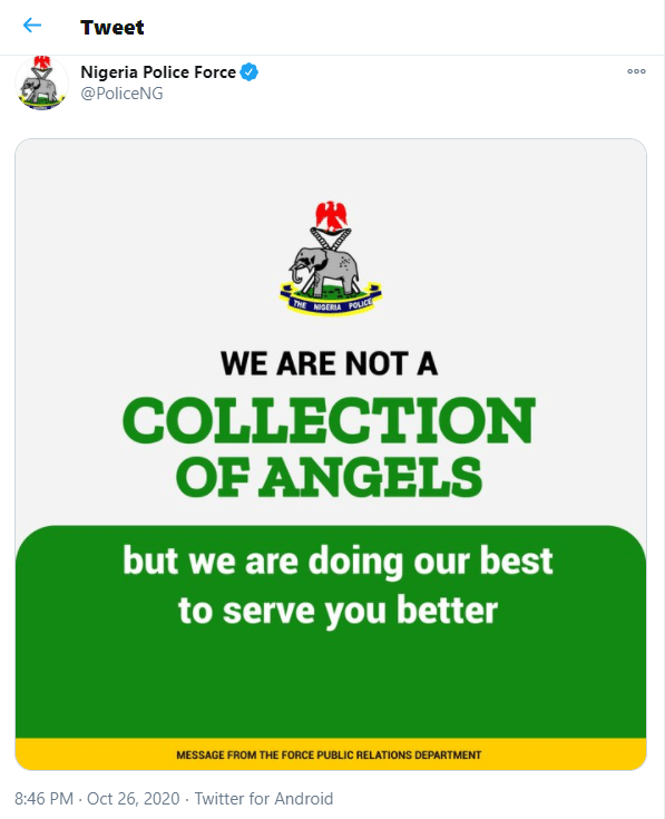 """""""We are not a collection of angels"""" – Nigerian police writes"""