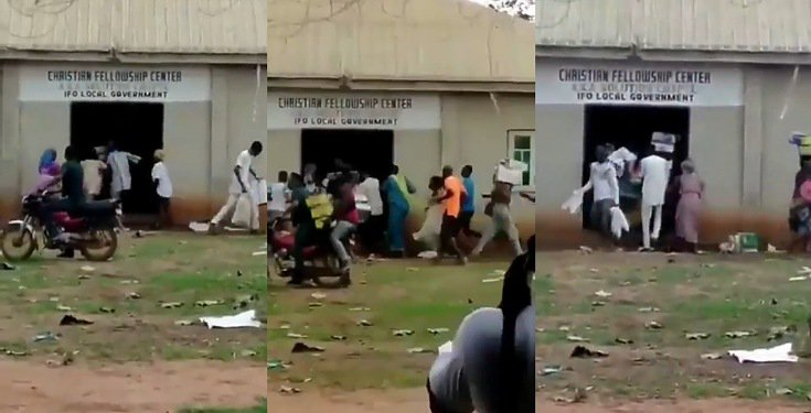 Hoodlums Cart Away Food Items Discovered Inside A Church In Ogun State ( Video) | DABATVNEWS