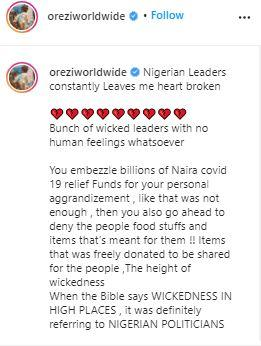 """""""Until Nigerian politicians start going to jail, Nigeria will never be great"""" – Orezi blows hot"""