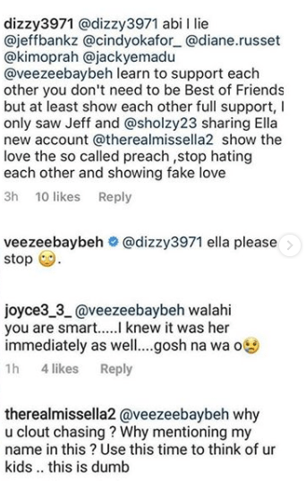 Venita Akpofure heated exchange with Ella on instagram