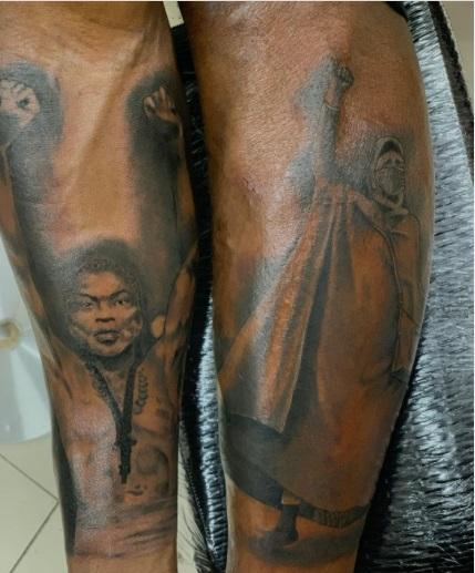 #EndSARS protester inks tattoo of Lekki shooting on his body