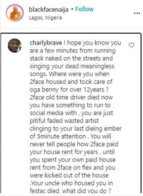 ''Your obsession with 2face will be your death'' - 2face's brother slams Blackface