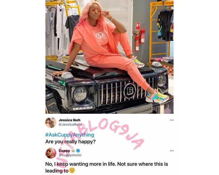 I am not happy in life - DJ Cuppy