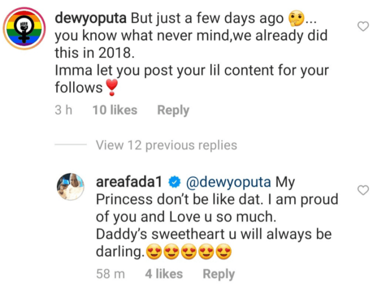 """""""Hypocrite"""" - Charley Boy's daughter, Dewy drags her father for lying about accepting her as lesbian"""
