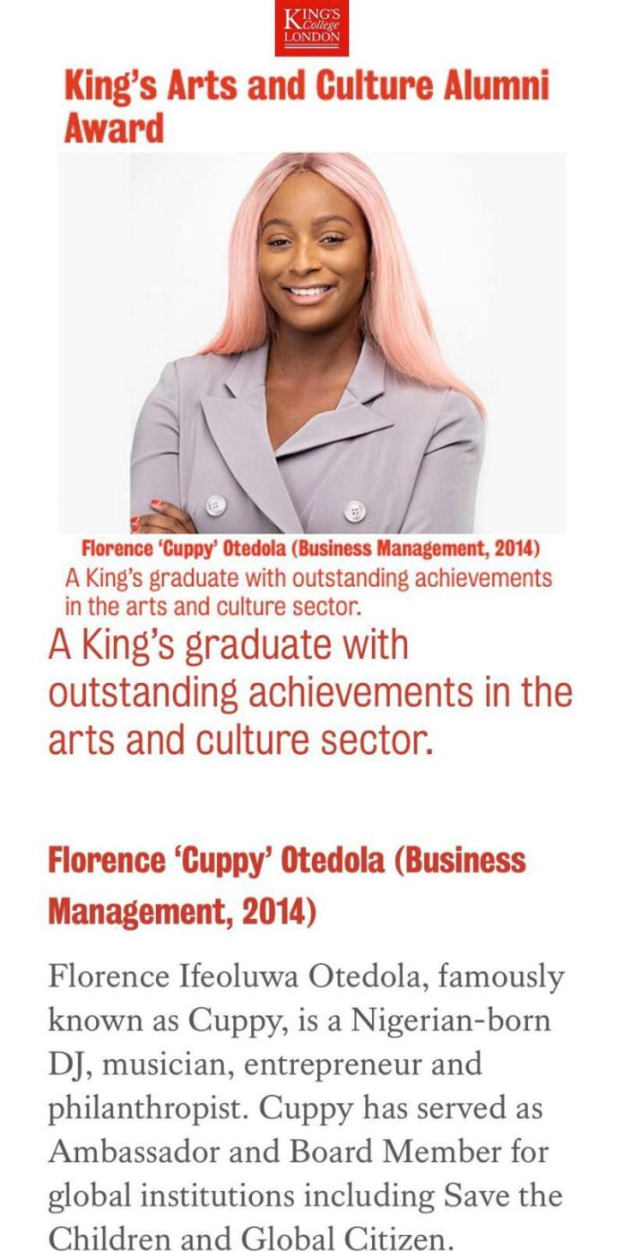 DJ Cuppy Awarded For Outstanding Achievements In Arts & Culture