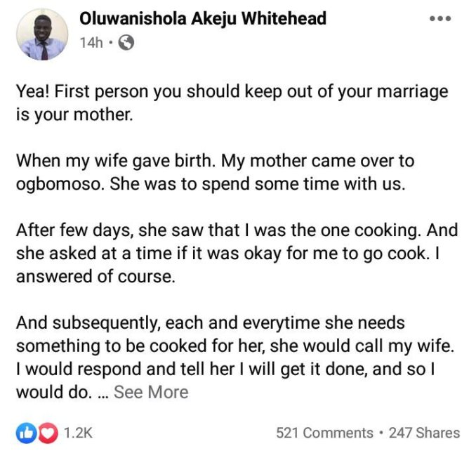 Man sends his mother packing