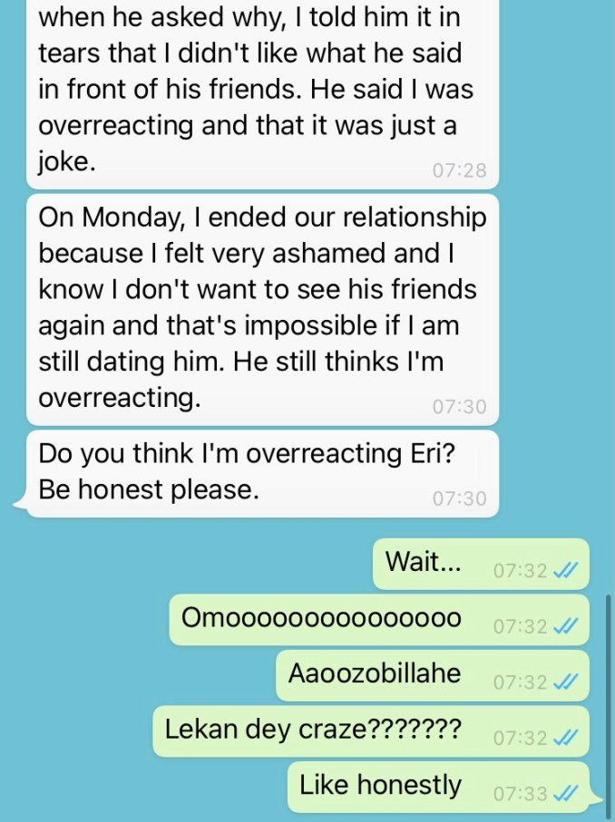 Lady ends her relationship