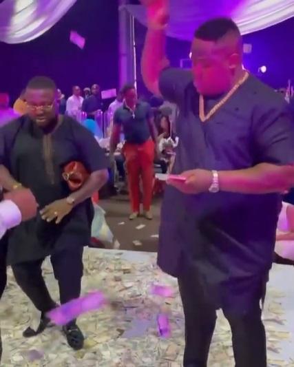 Moment Cubana Chief Priest made it rain money at a friend's wedding (Video)