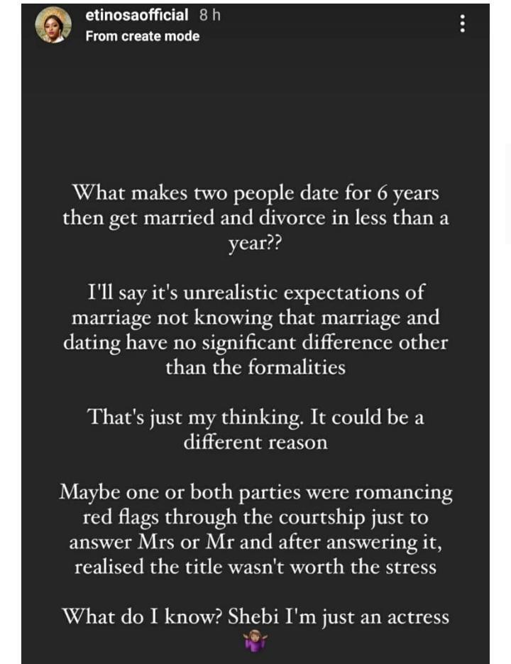 Why people divorce – Etinosa