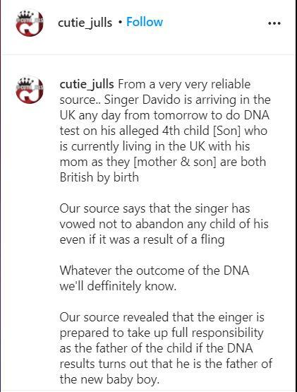 Davido allegedly flying to UK to test DNA of 4th child - Blogger claims