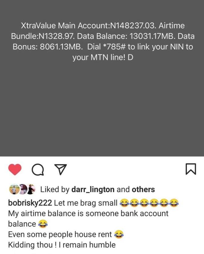 """My airtime balance is someone's bank balance"" - Bobrisky flaunts N148K airtime, calls it someone else's bank balance"