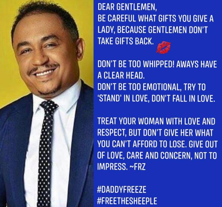 Freeze gives men advise