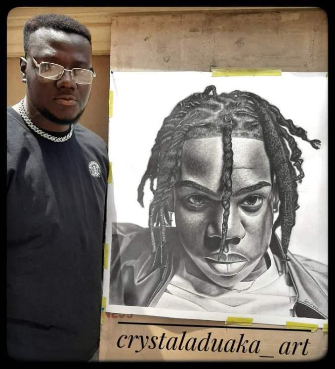 Rema rewards artist who spent 100 hours sketching a portrait of him