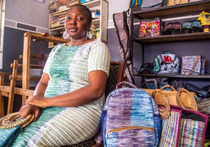 Woman leaves jaws dropping with beautiful bags made from sachet water nylon