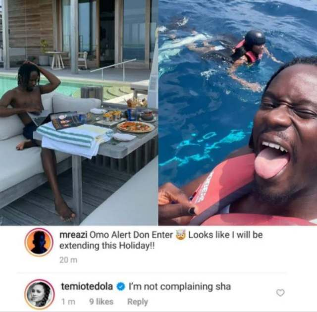 """""""Alert don enter"""" - Mr Eazi says as he intends to extend romantic holiday with Temi Otedola"""