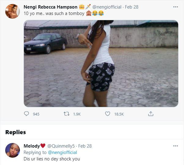 Reactions as Nengi calls herself 'Tomboy' in another throwback photo at age 10