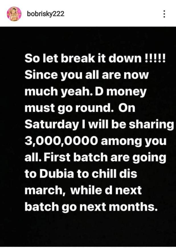 """Since you are much, I'll be sharing N3m among you all"" - Bobrisky cuts down reward of fans that tattooed his name or face"