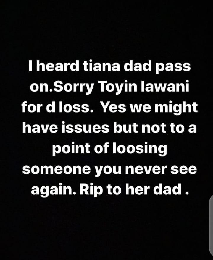 Bobrisky condolence Toyin Lawani