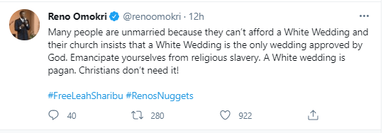 """""""Many people are unmarried because they can't afford white wedding"""" - Reno Omokri"""