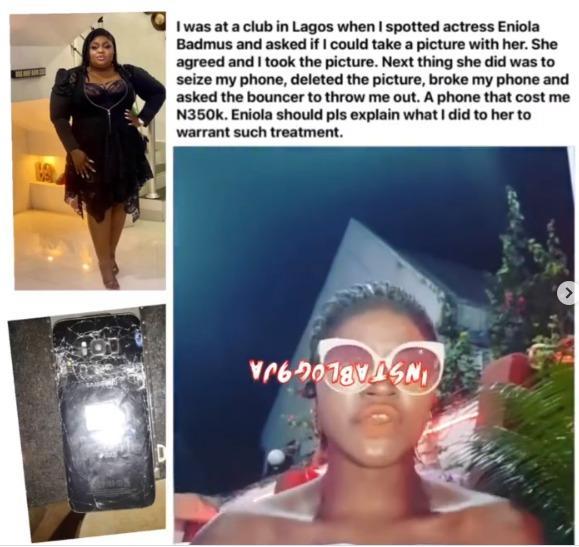 Eniola Badmus smashing phone