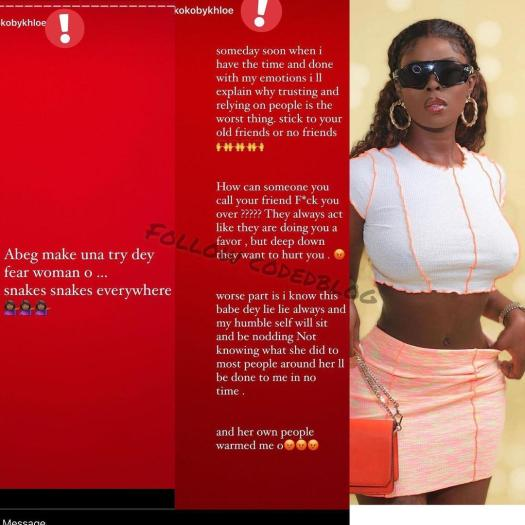 Women are snakes - BBNaija's Khloe rants after being betrayed by a close friend