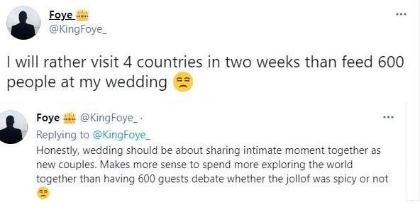 """""""I will rather visit 4 countries than feed 600 people at my wedding"""" - Man says"""
