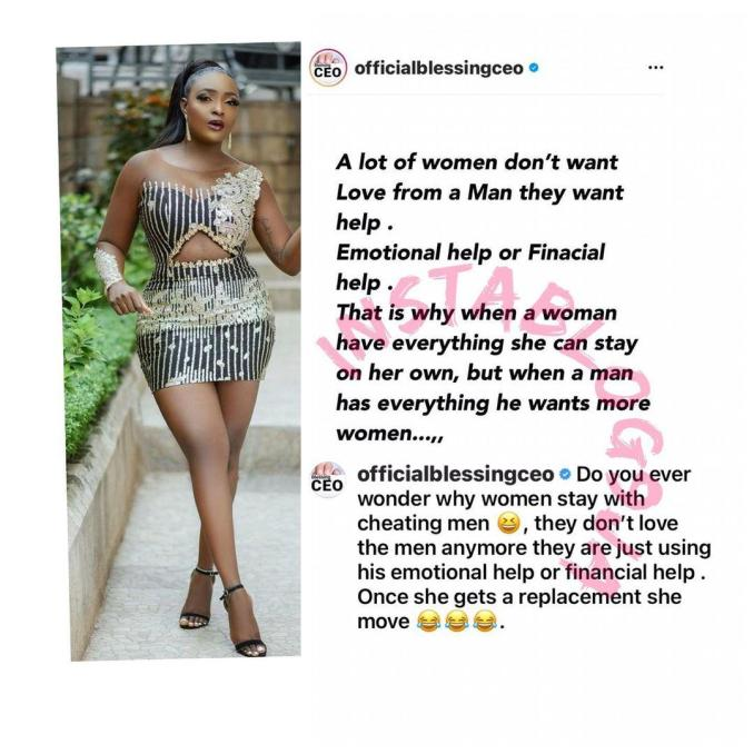 Women don't want love from men, they want emotional or financial help — Relationship Expert, Blessing Okoro