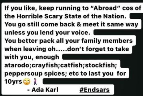 Ada Karl Nigeria leaving