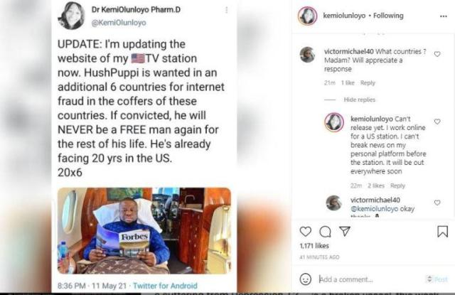 """""""Hushpuppi is wanted in six other countries, faces 120 years imprisonment"""" - Kemi Olunloyo"""