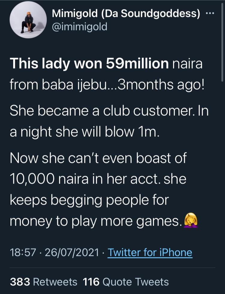Lady goes broke after three months of winning lottery of N59M