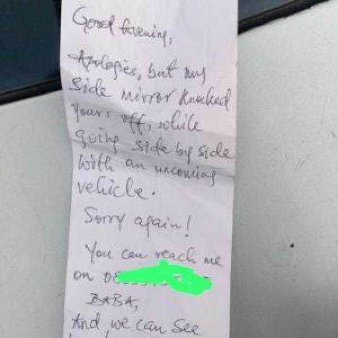 Man in shock over the note he found on his car's windscreen after his side-mirror was knocked off