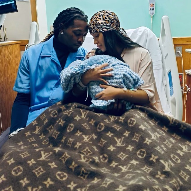 Cardi B and Offset with their newborn