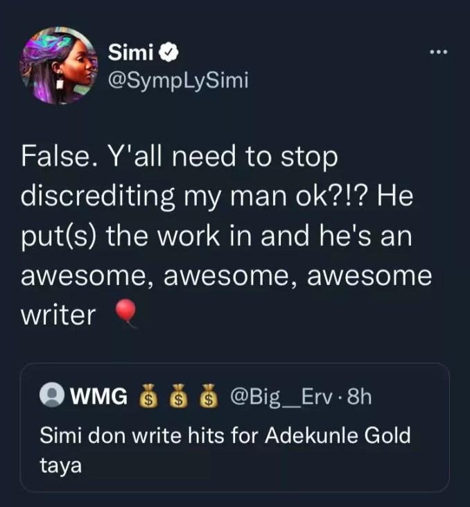 Singer, Simi slams troll who insinuated that she's the brain behind Adekunle Gold's hit songs