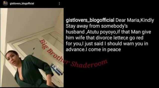 BBNaija's Maria called out over alleged affair with married man