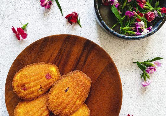edible flower madeleines